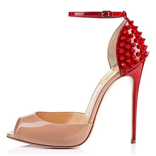 Fsj Vrouwen Enkelband Dorsay Hoge Hak Pomp Peep Toe Stiletto Schoenen Met Klinknagels Maat 4-15 Ons Nude-rood