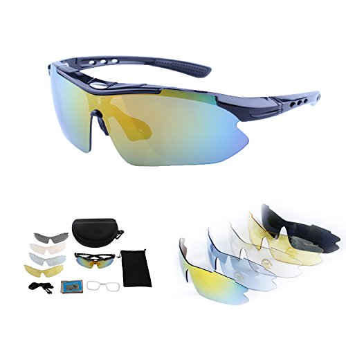 Polarized Sports Sunglasses for Men Women Cycling Running Driving Fishing Golf Baseball with Tr90 Unbreakable Frame,5 Interchangeable Lenses - Bike Glasses