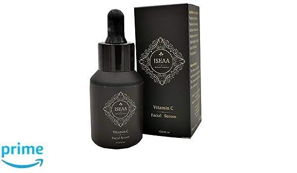 Vitamin C Serum- 20 % de vitamina C con ácido hialurónico y vitaminas C+E, tratamiento para la piel del rostro, combate las ojeras y las arrugas.