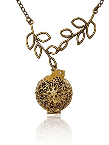 Bird and Tree Branch Bronze-tone Brass-tone Charms Aromatherapy Necklace Essential Oil Diffuser Locket Pendant Jewelry w/reusable felt pads!