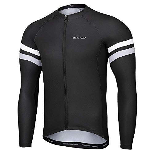 Wantdo Men's Long Sleeve Cycling Jerseys Biking Shirt Breathable Quick Dry Road Mountain Bicycle Jacket Black X Large