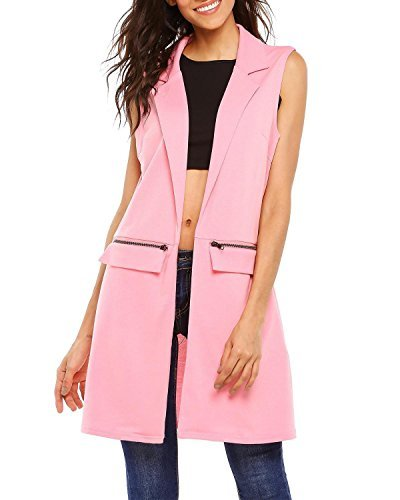 Bifast Women's Solid Lapel Sleeveless Slim Waistcoat Long Suit Vest Casual Vest