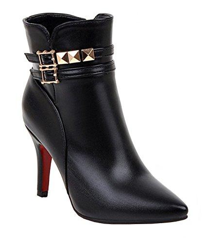 YE Shoes Damen High Heel Stiletto Stiefeletten mit Spitze Schnallen und Reißverschluss 9cm Absatz Elegant Herbst Kurzschaft Stiefel Schuhe