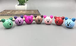 Beading Kits for Kids, 10 Pcs Wooden Round Bear Loose Beads Craft Beaded Mixed Color 28 mm, Beading Kit