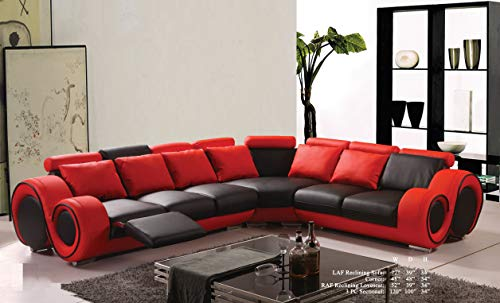 Esofastore Modern Classic Contemporary Red and Black Bonded Leather Sectional Sofa Set Reclining Loveseat Sofa Corner Living Room Couch ()