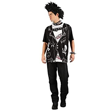 Easy Punk Rocker Shirt Mens Fancy Dress Outfit Adults 80 S Punk