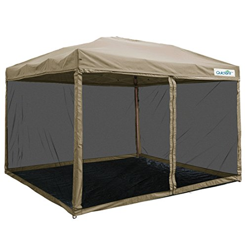 Quictent 10X10 Ez Pop up Canopy with Netting Screen House Party Tent Commercial Instant Gazebos Mesh Sides With Groundsheet Tan