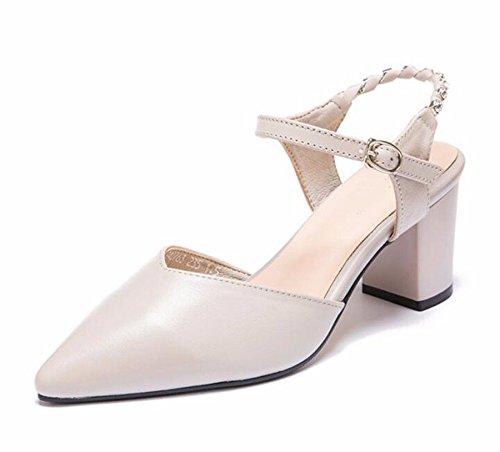 HBDLH 7 Cm Zapatos De Tacon Alto Sandalias La Primavera Y El Verano Señaló Rough Heels Zapatos De Mujer Taladro De Agua Cadenas Hueco Solo Los Zapatos. Beige