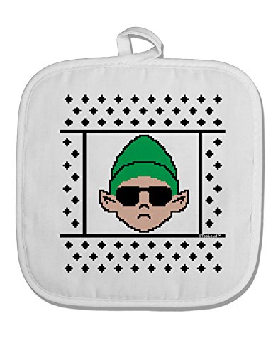 TooLoud Cool Elf Christmas Sweater White Fabric Pot Holder