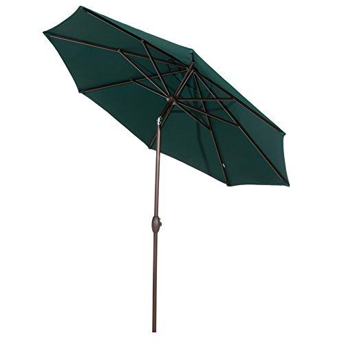 Abba Patio Sunbrella Patio Umbrella 9 Feet Outdoor Market Table Umbrella with Auto Tilt and Crank, Dark Green