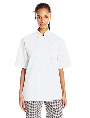 Uncommon Threads Unisex South Beach Chef Coat Short Sleeves, White, Medium
