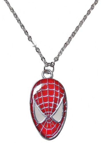 Marvel's SPIDER-MAN Face Silvertone/Enamel PENDANT w/ 17