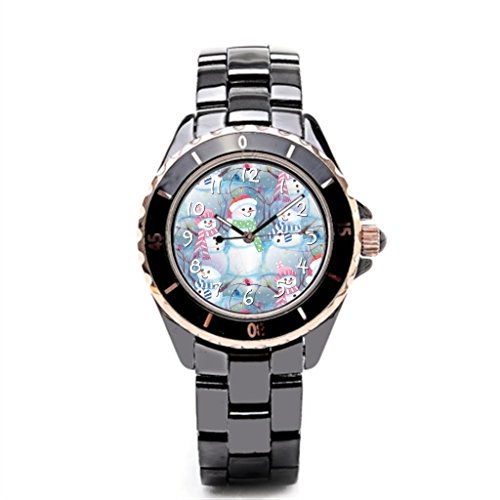 SJFY Mens Watches Ceramic Band Ornate Trendy Stylish Elegant Cool Cute Hip Trendsetter Trend Setter Mens Watch Black Ceramic Strap (Fashion Watch Ornate Cuff)