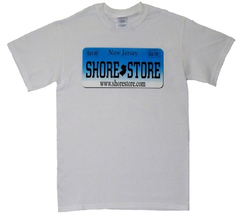 Shore Store Authentic Jersey Shore Merchandise Shore Store License Plate Aqua T-Shirt Medium White 385 (Jersey Shore Store)