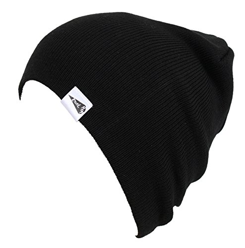 Black Knit Beanie Cap Hat - KooL Hop Kids Boys Girls Baby 100% Pure Cotton Knit Basic Beanie Hat Cap Black