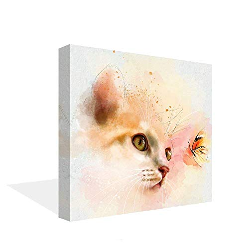 VIIVEI Colorful Cat Abstract Wall Art Picture Animal Home Decor House Decals Bedroom Living Room Canvas Print Contemporary Painting Large Canvas Kitty Poster Framed Ready to Hang (20