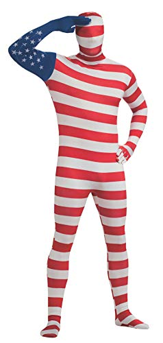 Rubie's Men's Adult Stars and Stripes Second Skin Zentai Bodysuit, Red/White/Blue, Medium ()