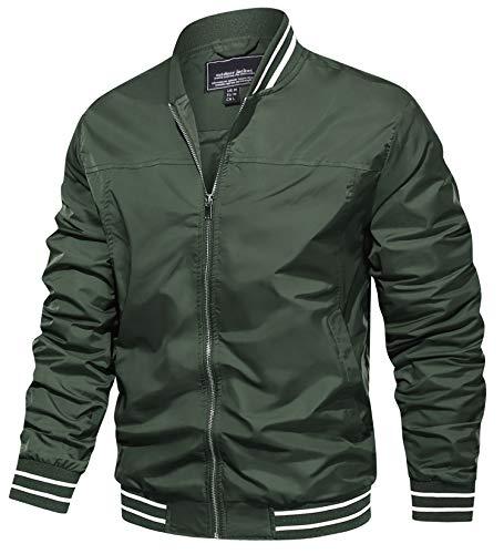 TACVASEN Men's Bomber Jackets Lightweight Windbreaker Spring Fall Full Zip Active Coat Outwear