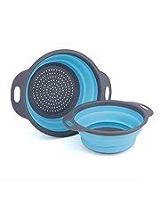 GCBTECH Opvouwbaar vergiet met handvat, 2 stukken opvouwbare siliconen zeef Keuken camping accessoires, Giet pasta rijst groenten fruit af (Blauw)