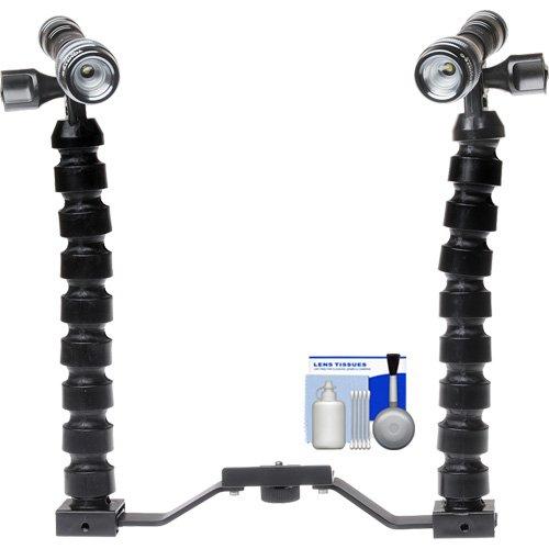 Intova LED Mini Torch Flashlight/Video Light with Additional LED Mini Torch + Brackets & Flex Arms + Cleaning Kit (Torch Intova)