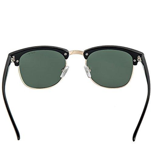 Half Classic Lens Horn Clubmaster crystal black Frame Sunglasses Arm … Polarized Green Resin Frame Rimmed Dollger OIdYqO