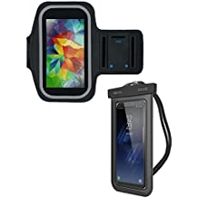 Universal Waterproof Cell Phone Case Bundle for Smartphones | Includes Armband Case For Exercise and Carrying Case For Everyday Use | Compatible With Both iPhone and Android Models