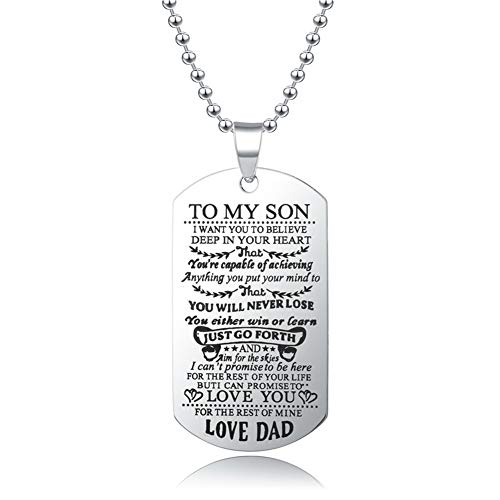 Blerameng to My Son I Want You to Believe Love Dad Dog Tag Military NavyAir Force Necklace Ball Chain Gift for Best Son Birthday Graduation Stainless Steel (to My Son-Love DAD)