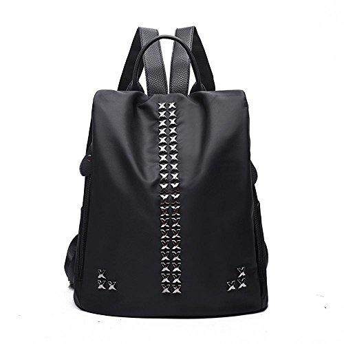 Aoligei Double Shoulder Fashion Rivet Nylon Bag Korean Version Canvas Oxford Cloth Bag C