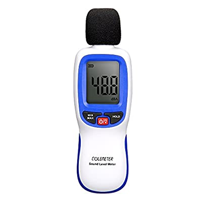 Noise Meter , COLEMETER Digital Sound Noise Level Decibel Meter Tester Range 30-130dB (A) with LCD Display ( Batteries included )