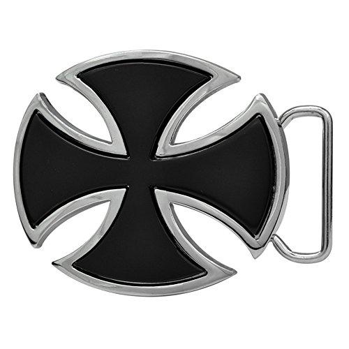 ns Celtic Iron Maltese Cross Enamel Punk Belt Buckle Black (Black Enamel Buckle)