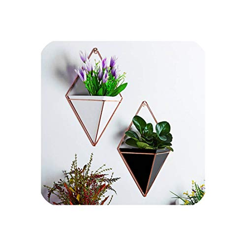 Innovative Hanging Planter Vase Geometric Wall Decor Container Succulent Plants,White L