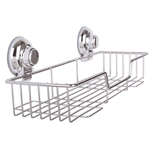 SANN Stainless Steel Super Strong Suction Cups Rustproof Bathroom Caddy Rectangle Shower Caddies Wall Shelves Kitchen Storage Basket