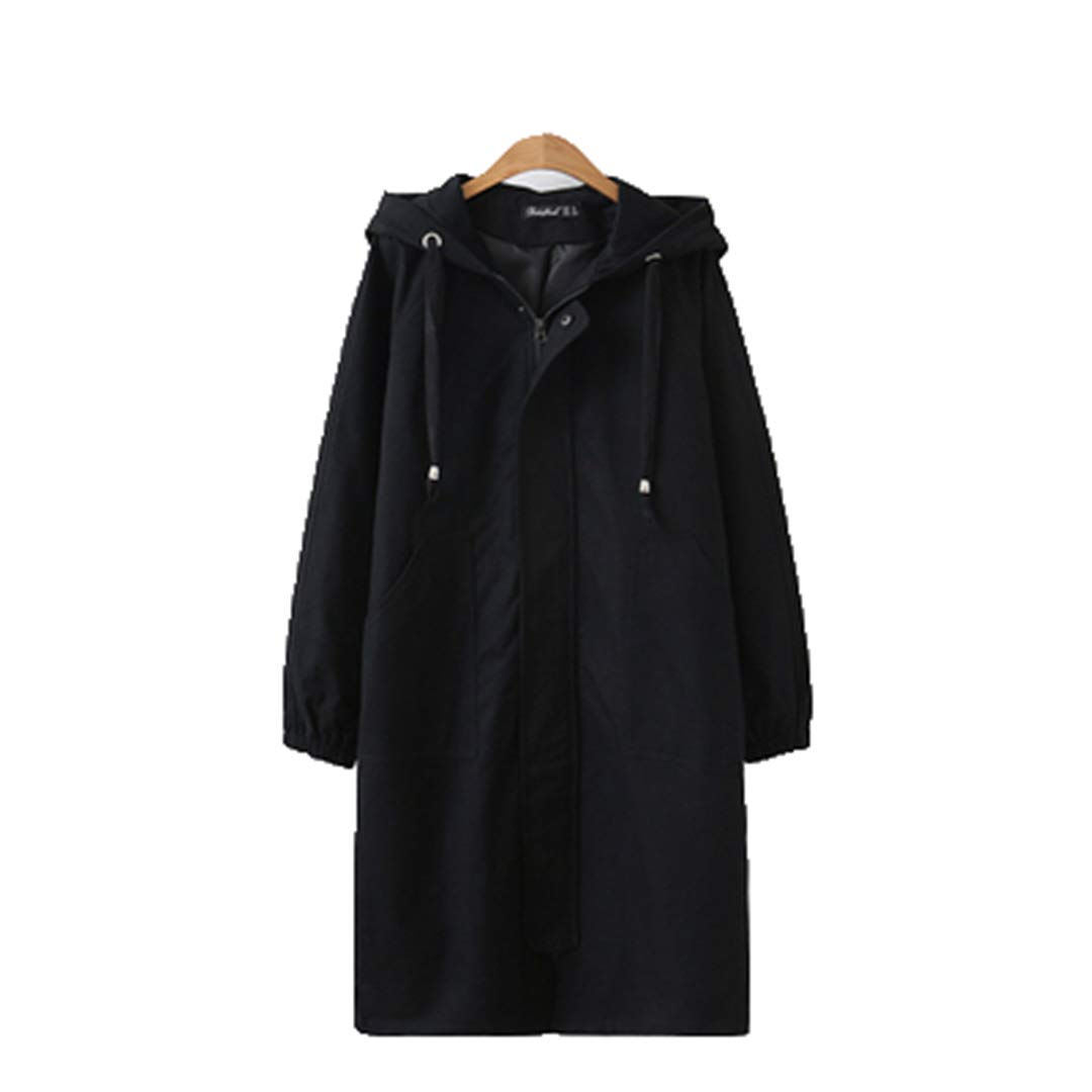 Black Spring Autumn Women's Windbreaker Hooded Coats Han Loose Long Sleeve Long Outerwear Casual Female Trench Coat