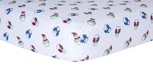 Trend Lab 100% Cotton Snowman Fitted Crib Sheet, Blue/Green