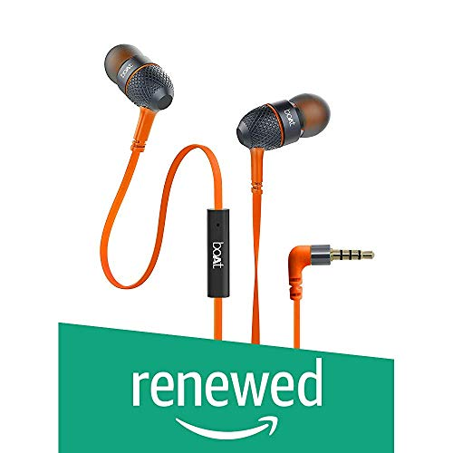 Renewed  boAt BassHeads 225 in Ear Super Extra Bass Headphones  Molten Orange