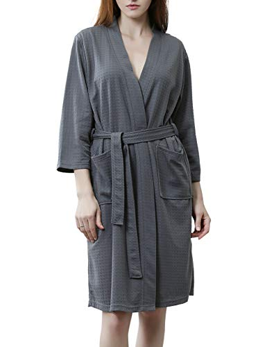 DGGLIFE Women's Robes Lightweight Kimono Bathrobe Short Knee Length Ladies Waffle Weave Soft Thin Summer Spa House Nightwear Sleepwear Grey ()