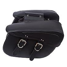 Waterproof Motorcycle Saddle Bags 2-Strap-On PU Outdoor Seat Saddle Bag (Black, Set of 2)
