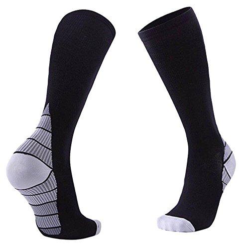 Mens Socks Compression Socks Athletic Football Soccer Socks, TuGu Knee High Marathon Compression Socks for Running, Cycling.