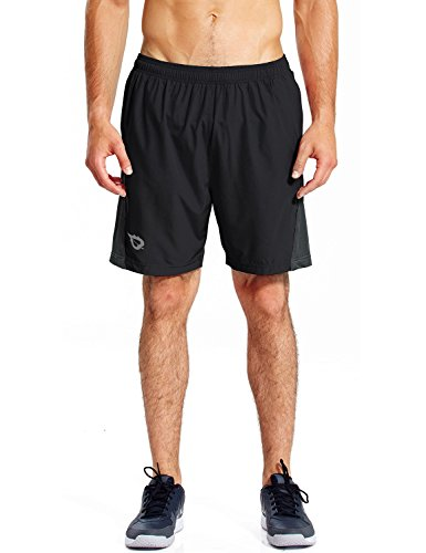 Baleaf Men's 7″ Quick Dry Workout Running Shorts Mesh Liner Zip Pockets Black Size M
