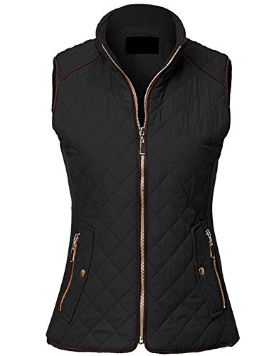 MAYSIX APPAREL Sleeveless Lightweight Zip Up Quilted Padding Vest Jacket For Women BLACK 1XL Lightweight Black Leather