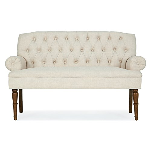 Belleze Button Tufted Mid-Century Settee Upholstered Vintage Sofa Bench with Linen Fabric Wood Legs, White