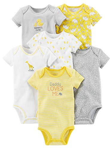 (Simple Joys by Carter's Baby 6-Pack Neutral Short-Sleeve Bodysuit, Yellow/Gray, Preemie )