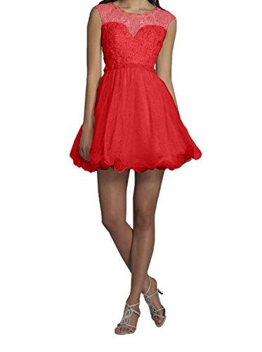 Charmant Rot Kurzes Mini Cocktailkleider Hell Abendkleider Partykleider Tanzenkleider mit Champagner Damen Spitze Promkleider rp7Bwqr