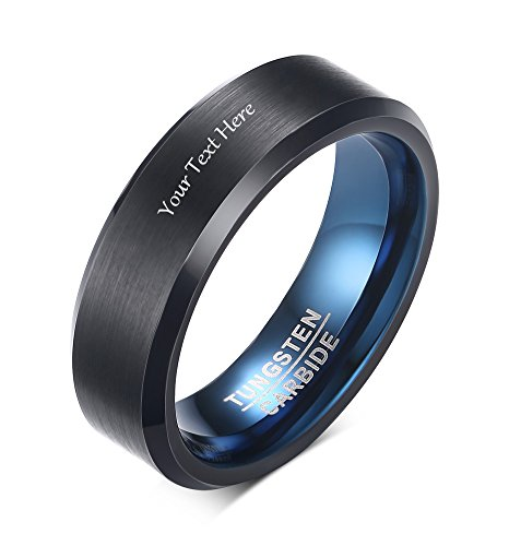 VNOX Free Engraving 6mm Men's Tungsten Carbide Wedding Band Ring,Black and Blue,Beveled Edges Size (Black Date Ring)