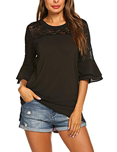 - SoTeer Women's Round Neck Short Sleeve Chiffon Blouse Lace Panel Loose Top Shirts