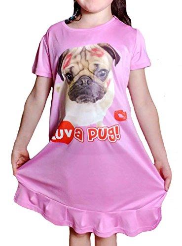 Kids Pug notte Donna Pink Camicia TopsandDresses da corte Maniche zZABYwq