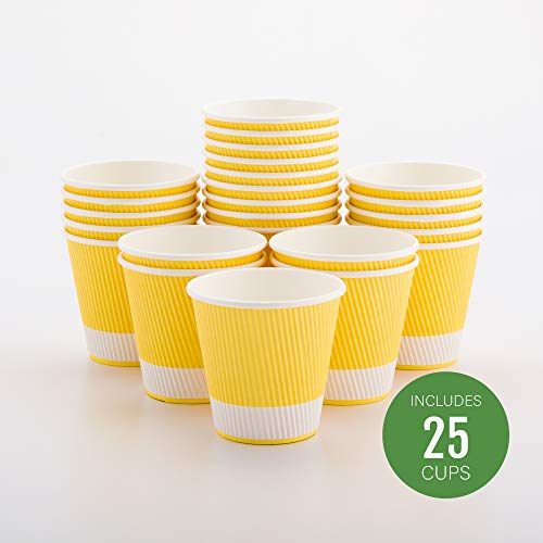 Restaurantware RWA0302LY-25 Insulated Paper Coffee Cups, 8 oz, Pastel Yellow