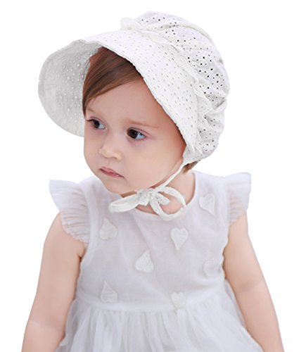 Organic Cotton Pointelle - Baby Girls Sun Hat Summer Baby Hats Fashion Hollow Sun Protection Caps, White