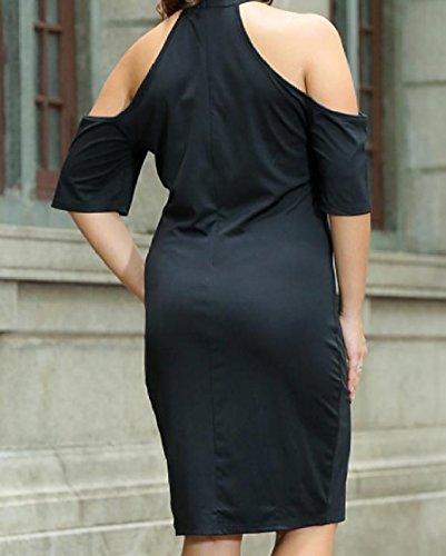 Coolred-femmes Découpées Surdimensionné Manches Courtes Minceur Épaule Robe De Cocktail Noire Brodée