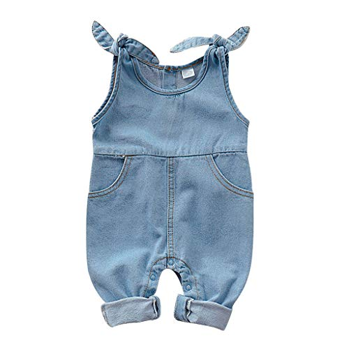 Toddler Straps Jumpsuit Fineser Newborn Infant Baby Girls Boys Sleeveless Solid Denim Jumpsuit Bib Overalls Autumn Clothes (Light Blue, 0-6 Months(70))